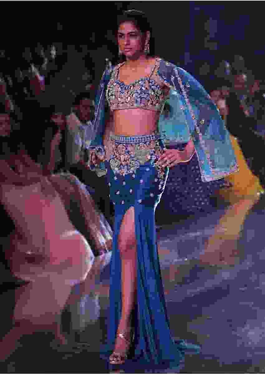 Seaside Blue Mermaid Cut Skirt And Crop Top With Embossed Embroidery And A Cape Jacket Online - Kalki Fashion