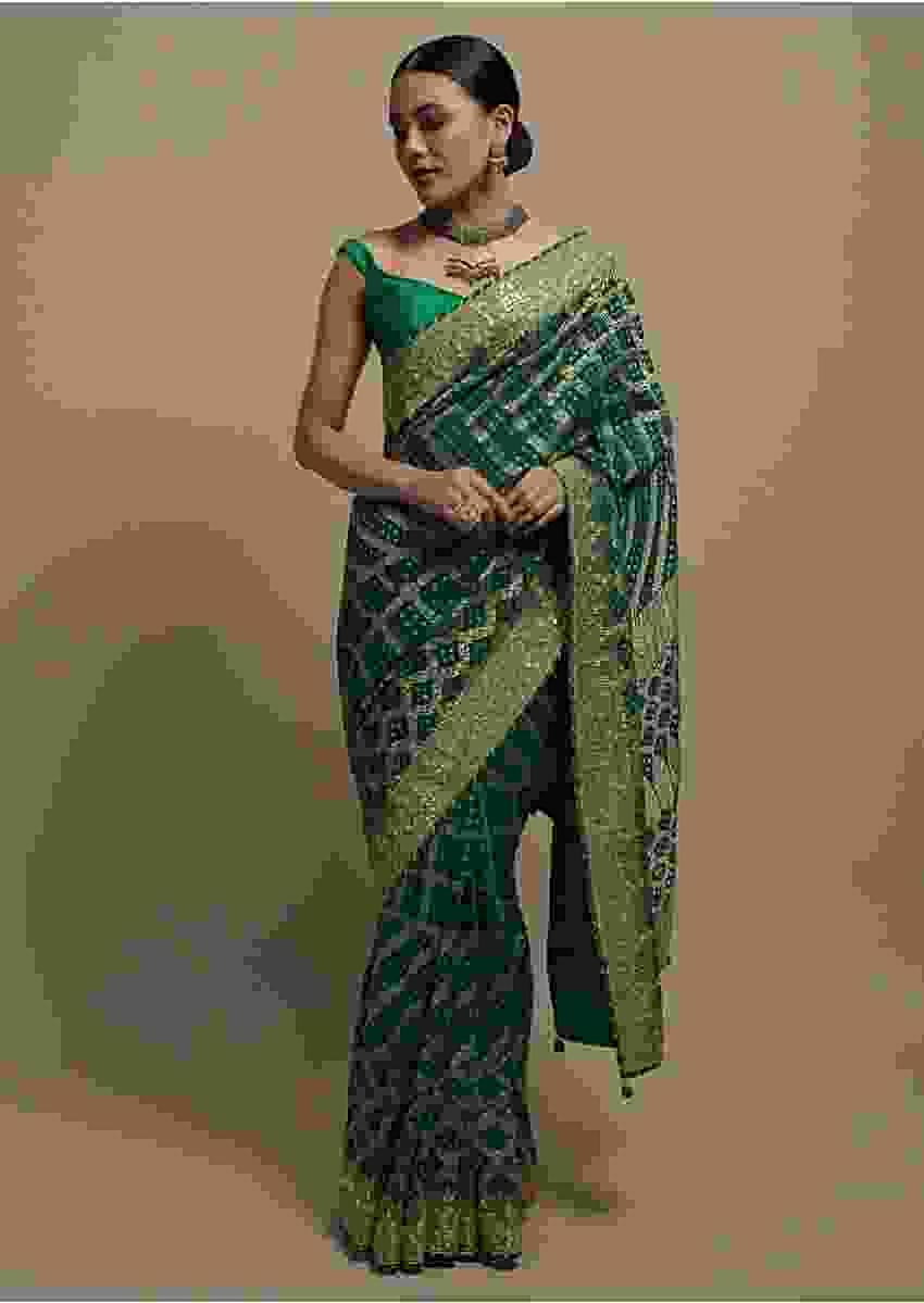 Teal Saree In Georgette With Bandhani Print And Weaved Jaal Work Online Kalki Fashion