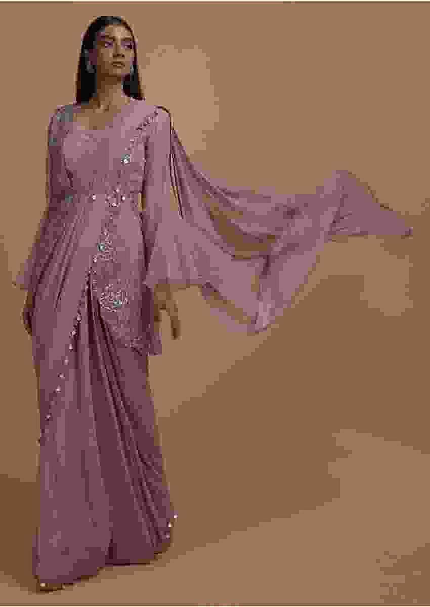 Thulian Pink Ready Pleated Saree Topped With Organza Jacket Having Bell Sleeves Online - Kalki Fashion