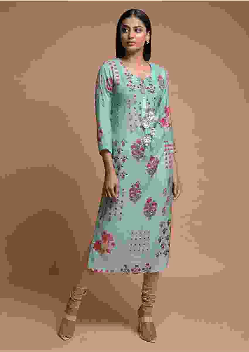 Tiffany Blue Kurti In Cotton Blend With Printed Floral Motifs Online - Kalki Fashion