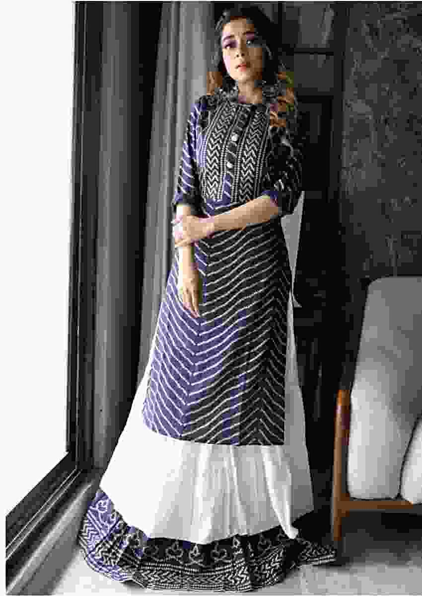 Tina Datta In Kalki Navy Blue Kurti Set With Bandhani Foil Printed Chevron Design And Off White Skirt