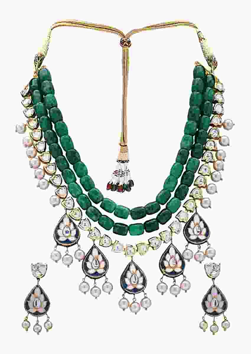 Traditional Green Beads Layered Necklace Set With Kundan And Golden Shell Pearls Online - Joules By Radhika