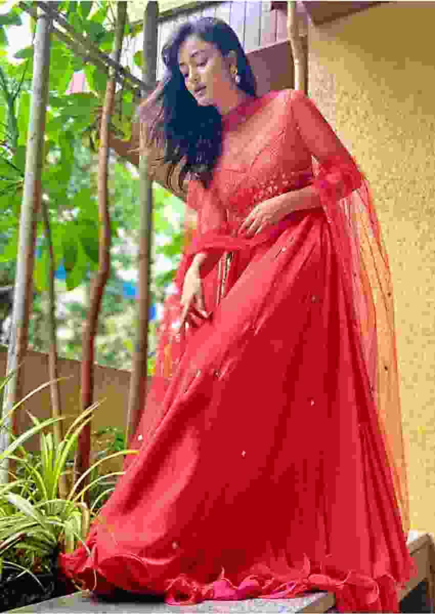 Tridha Choudhury In Kalki Coral Anarkali Suit With Geometric Shaped Mirror Accented Bodice And Fun Layered Hemline