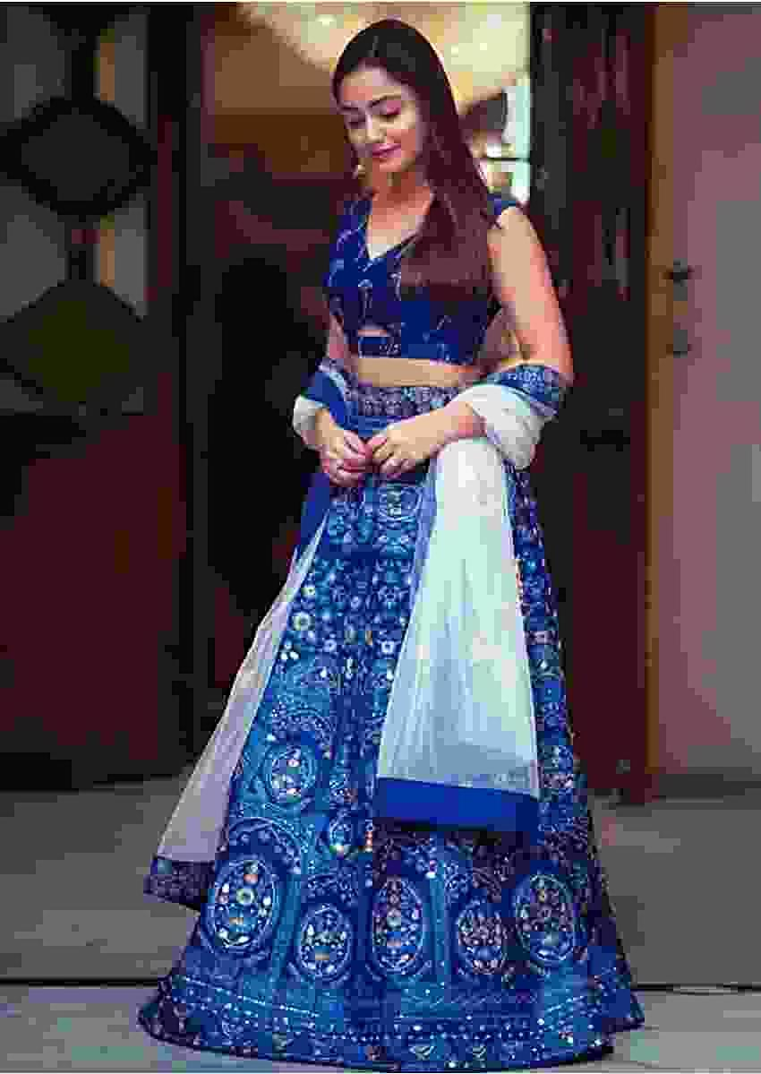Tridha Choudhury In Kalki Sapphire Blue Lehenga Choli With Foil Print In Framed Floral Motifs And Ethnic Heritage Pattern