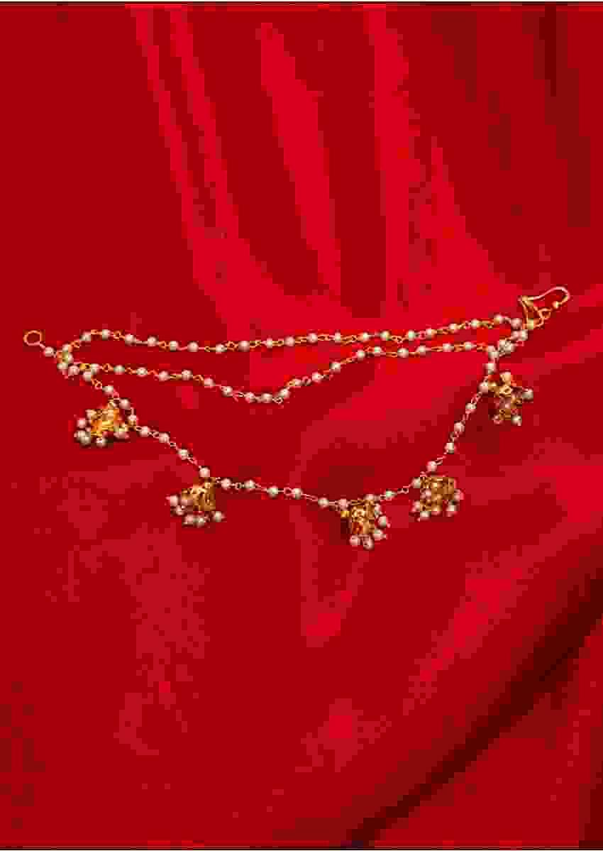 Triple string layer chain earring with nano moti jhumkas only on Kalki