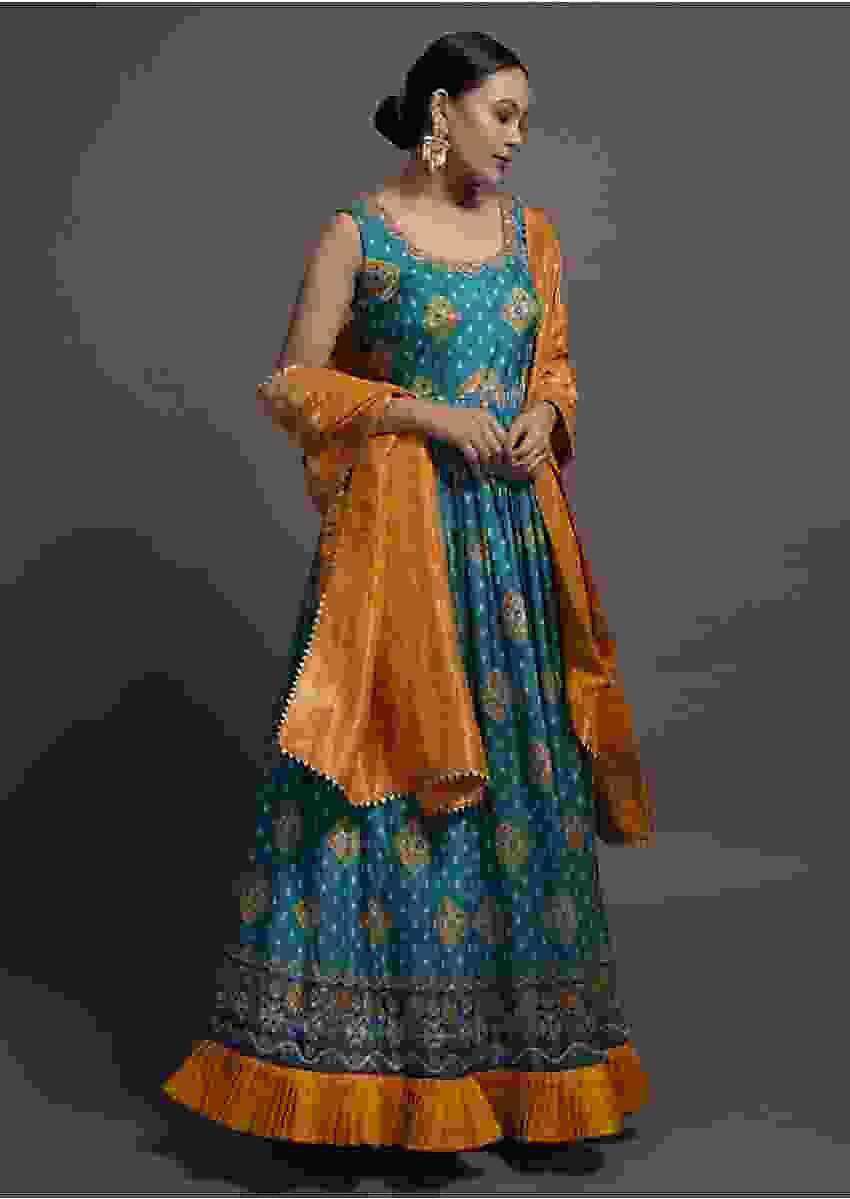 Turq Blue Anarkali Suit In Silk With Patola Print And Contrasting Mustard Dupatta Online Kalki Fashion
