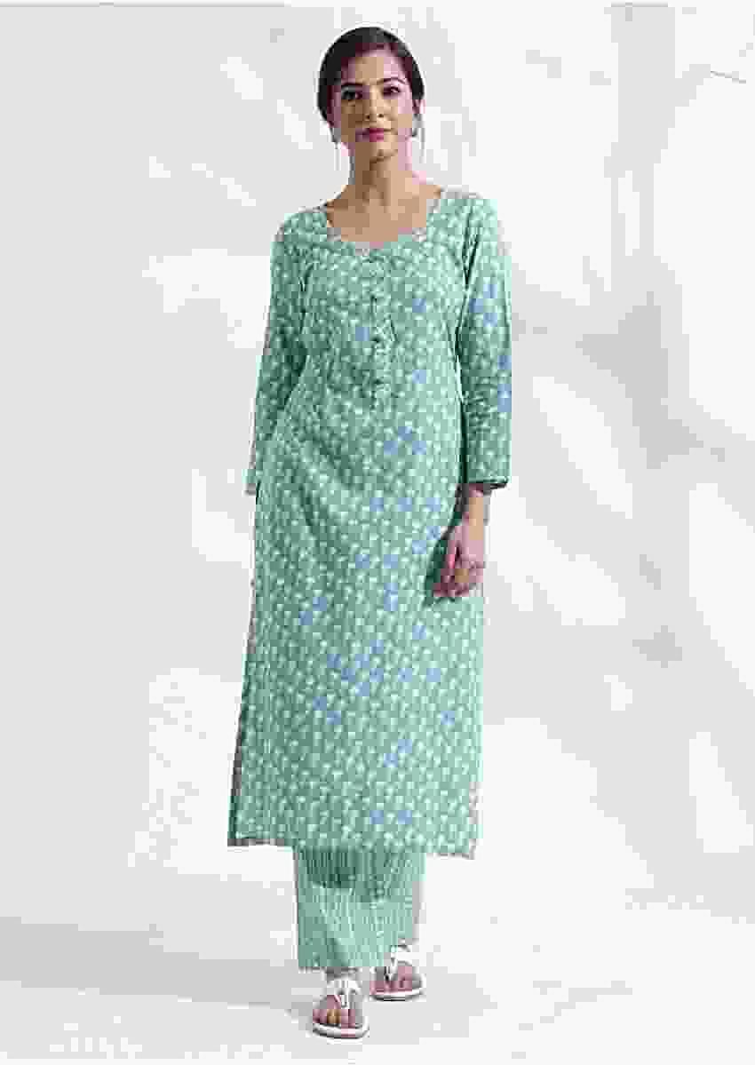 Turq blue printed kurta set in cotton with bald work Online - Kalki Fashion