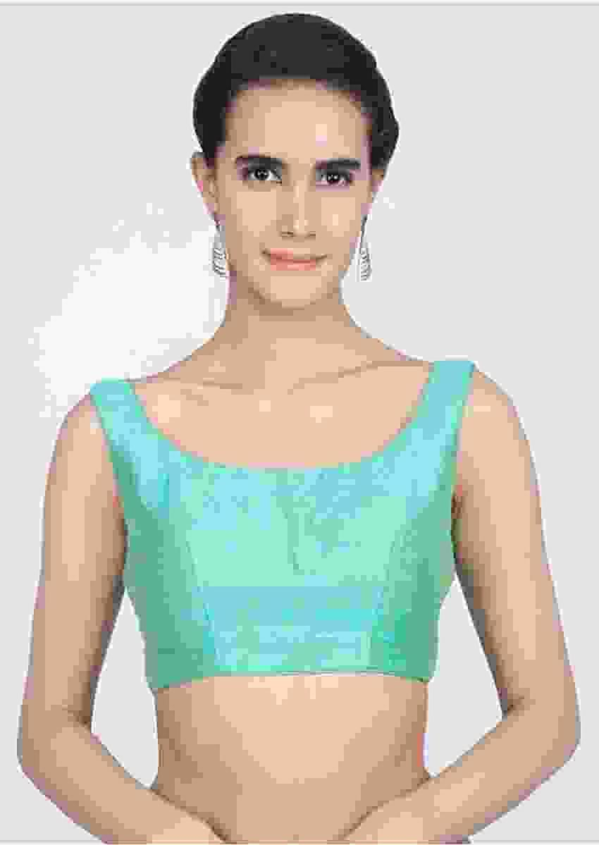 Turq Blue Blouse In Raw Silk With Round Neckline Online - Kalki Fashion