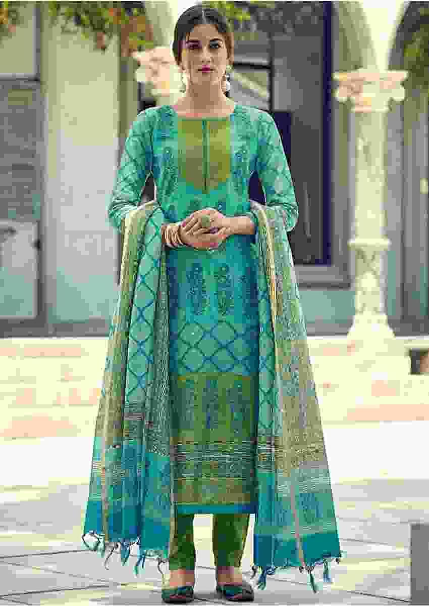Turq Suit In Tussar Silk With Batik, Floral Print And Badla Work Online - Kalki Fashions