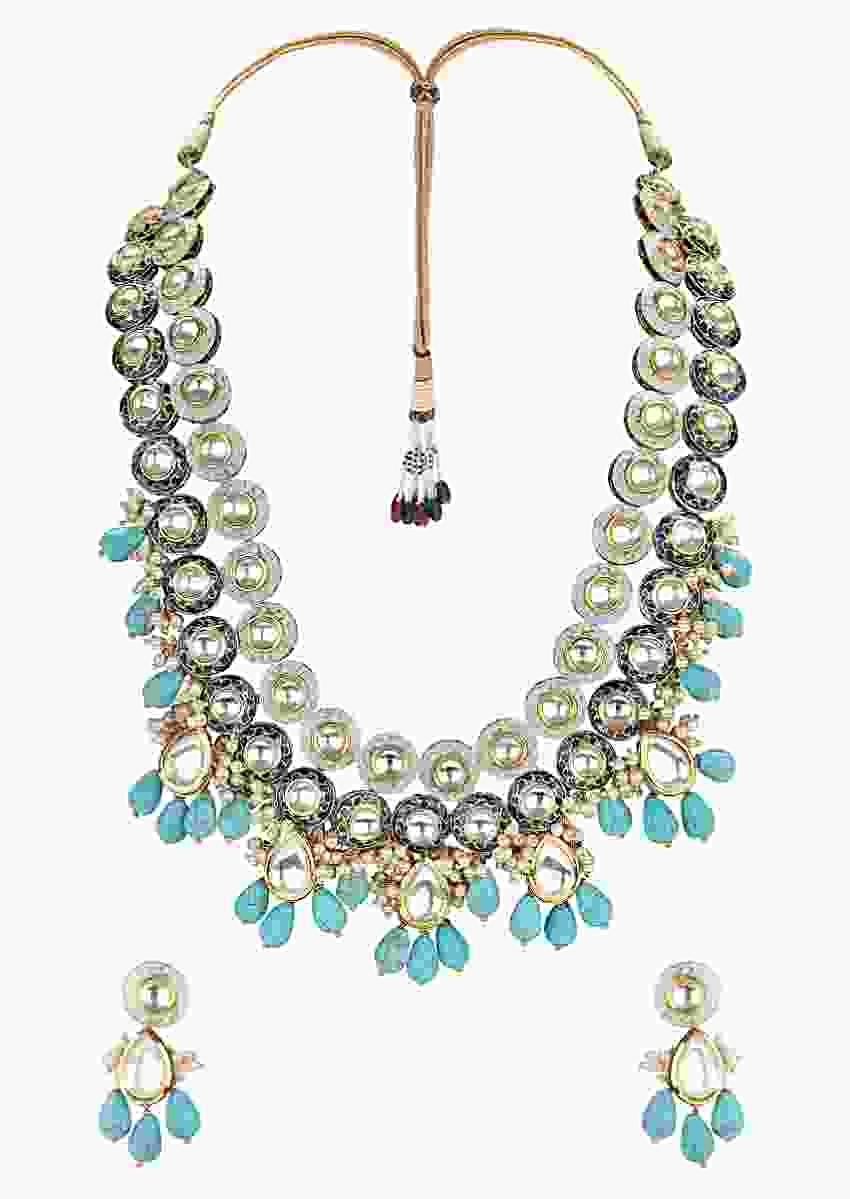 Turquoise Earrings And Necklace Set With Polki, Meenakari, Turquoise Drops And Shell Pearls Online - Joules By Radhika
