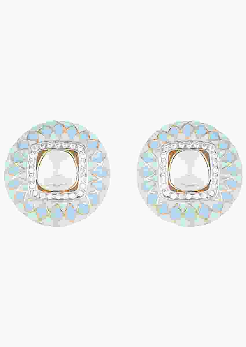Turquoise Enamelled Round Stud Earrings With Faux Polki In The Centre By Aster