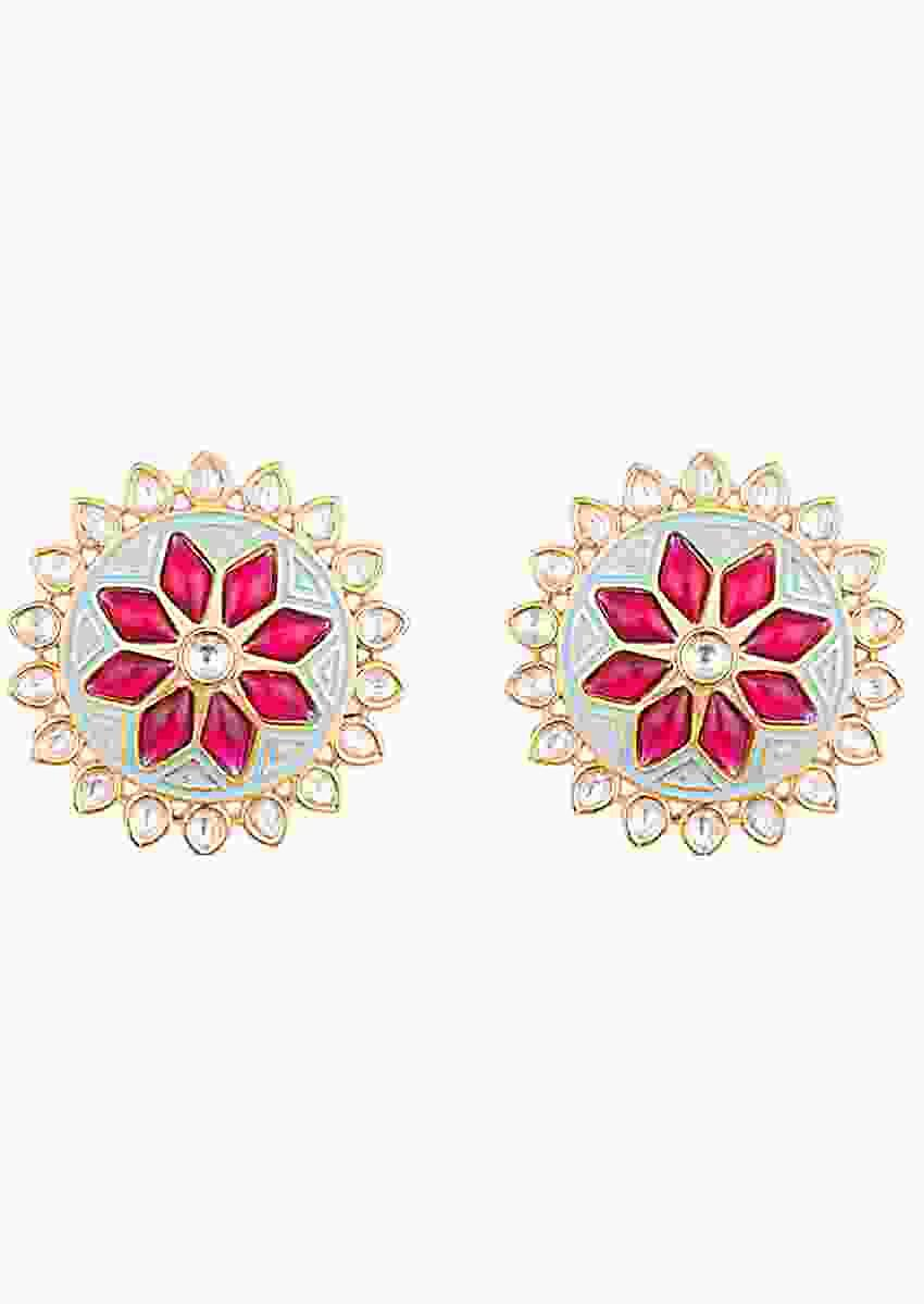 Turquoise Enamelled Stud Earrings In Floral Design With Kundan And Red Pota Stones By Aster