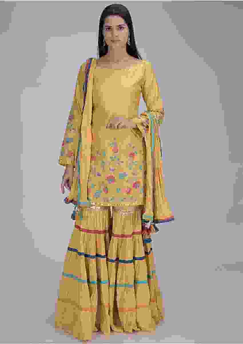 Tuscan Sun Yellow Sharara Suit Set In Cotton Online - Kalki Fashion