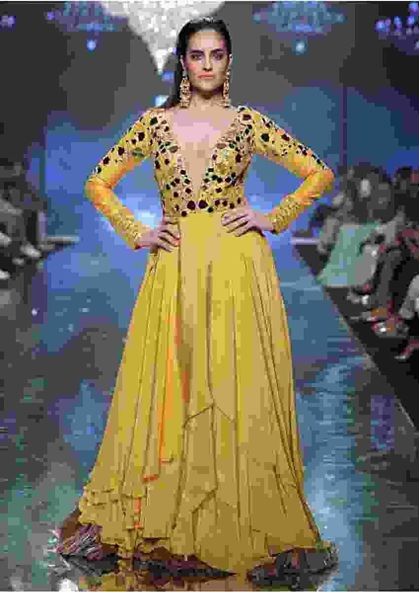 Sunset Yellow Gown With Floral And Leaf Cut Mirror Work And Plunging Neckline Online - Kalki Fashion