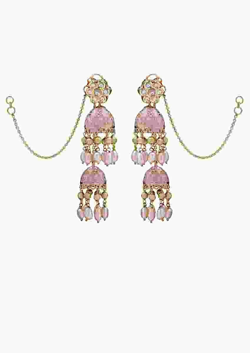 Twin Jhumkees With Pink Enamelling And Shell Pearls Online - Joules By Radhika