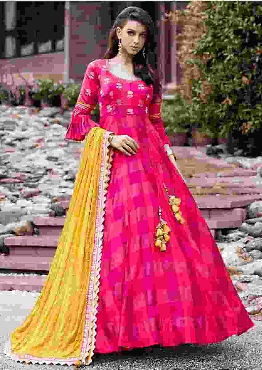 Two tone pink anarkali suit  with weaved bodice and fancy tie up  Online - Kalki Fashion