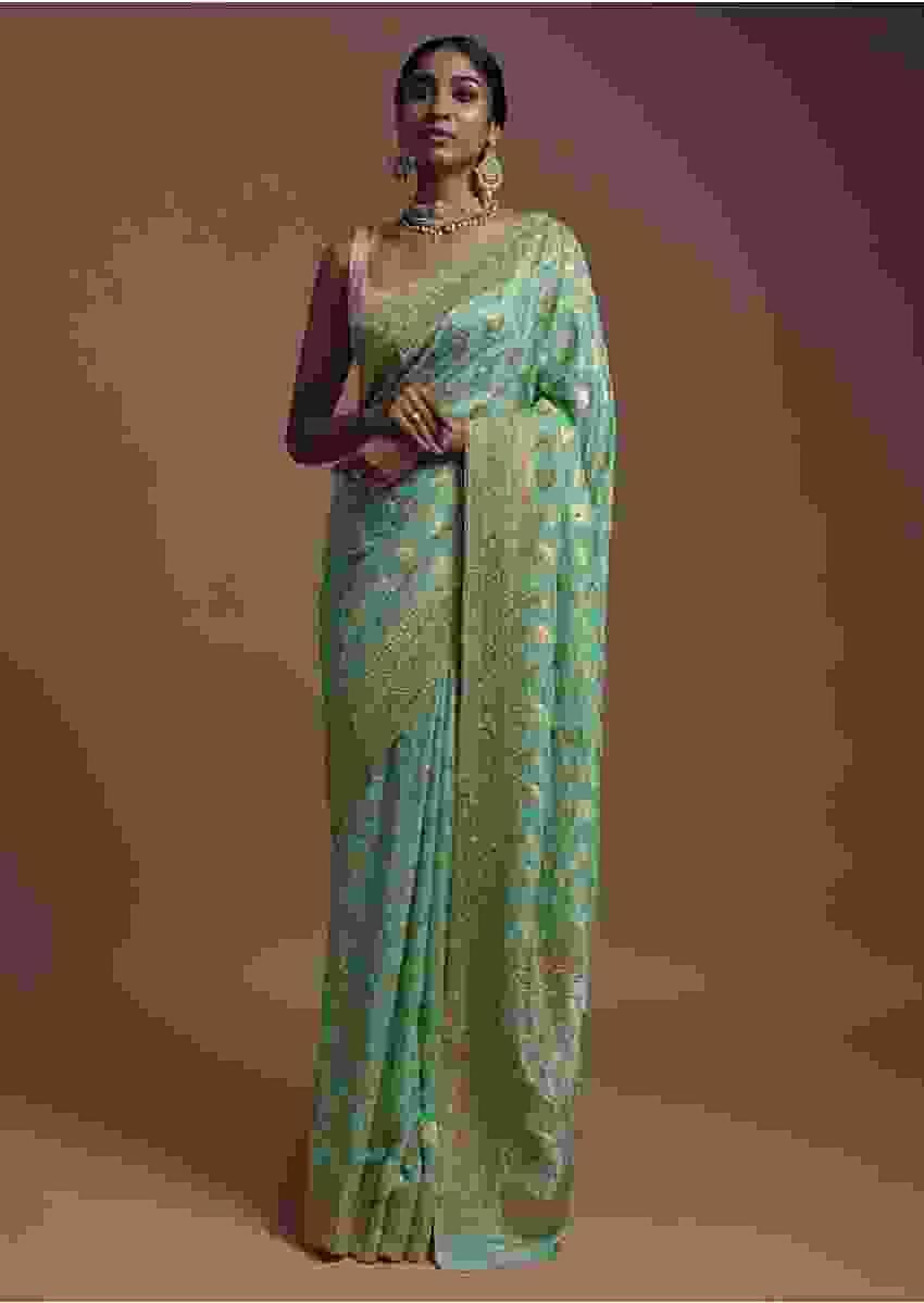 Vegan Green Banarasi Saree In Georgette With Weaved Floral Jaal Along With Kundan Work Online - Kalki Fashion