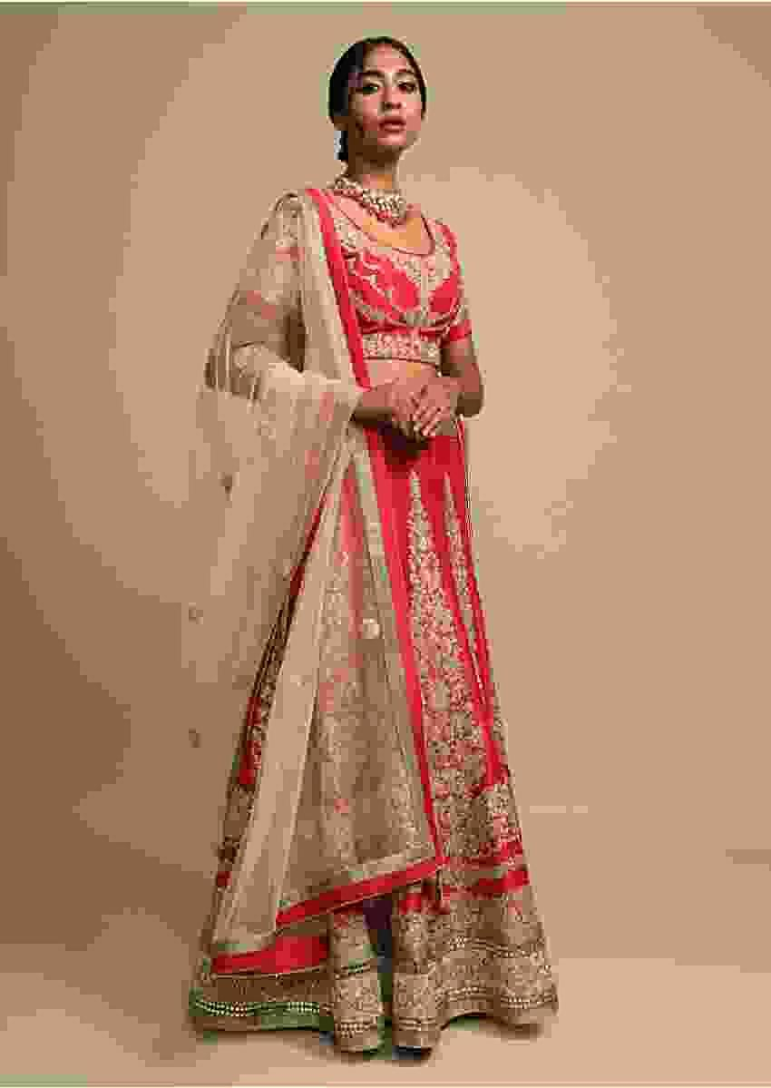 Vermillion Red Lehenga Choli In Raw Silk With Zari Embroidered Floral Kalis Online - Kalki Fashion