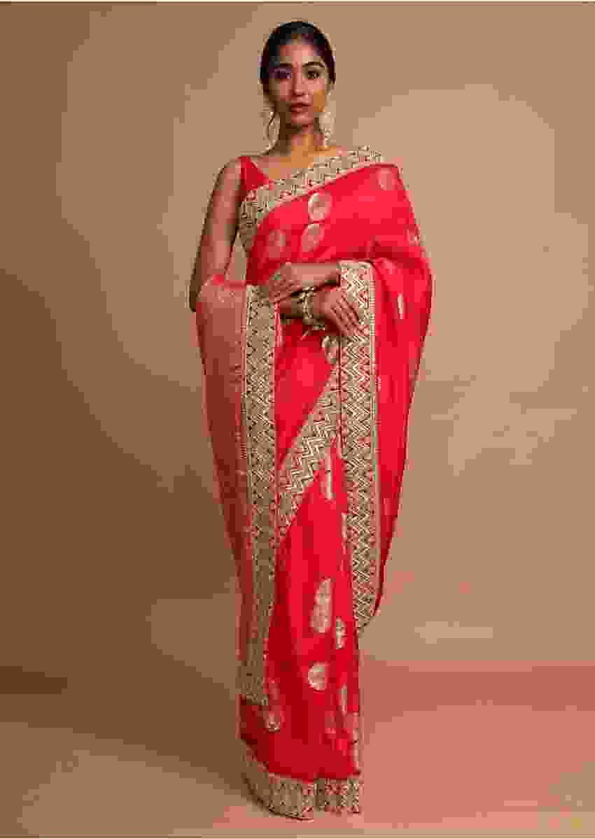 Vermillion Red Saree In Dola Silk With Weaved Floral Buttis And Zari Border Online - Kalki Fashion
