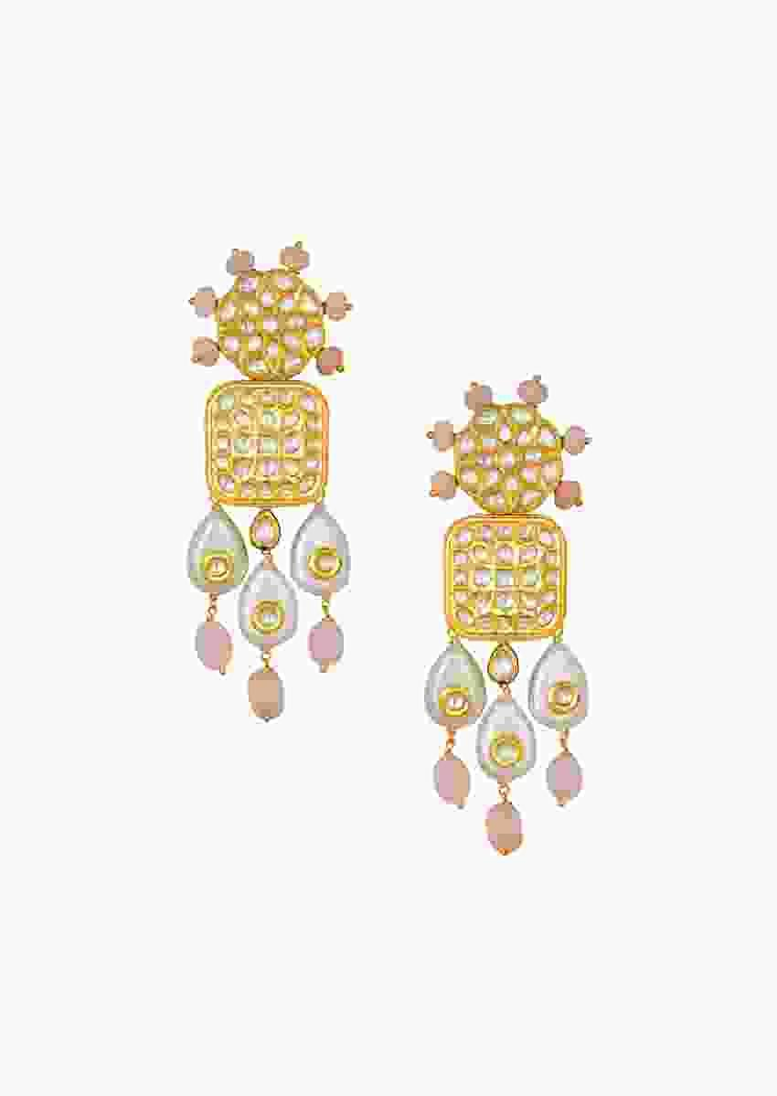 Vibrant Kundan Polki Earrings With Baroque Pearls And Subtle Jade Online - Joules By Radhika