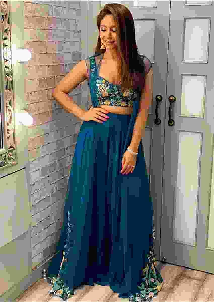 Vinny Arora in kalki ravishing teal palazzo crop top cape outfit
