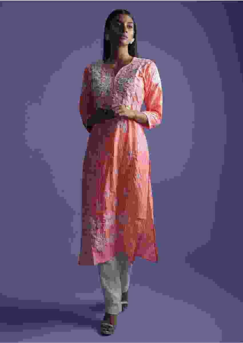Watermelon Pink Kurta In Crepe With Striped Print  And Thread Embroidery Online - Kalki Fashion