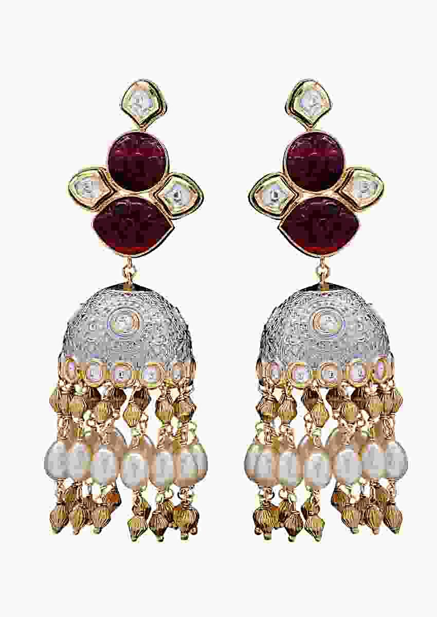 Wedding Jhumkas With Red Agate Stone, Shell Pearls And Blue Minakari  Online - Joules By Radhika