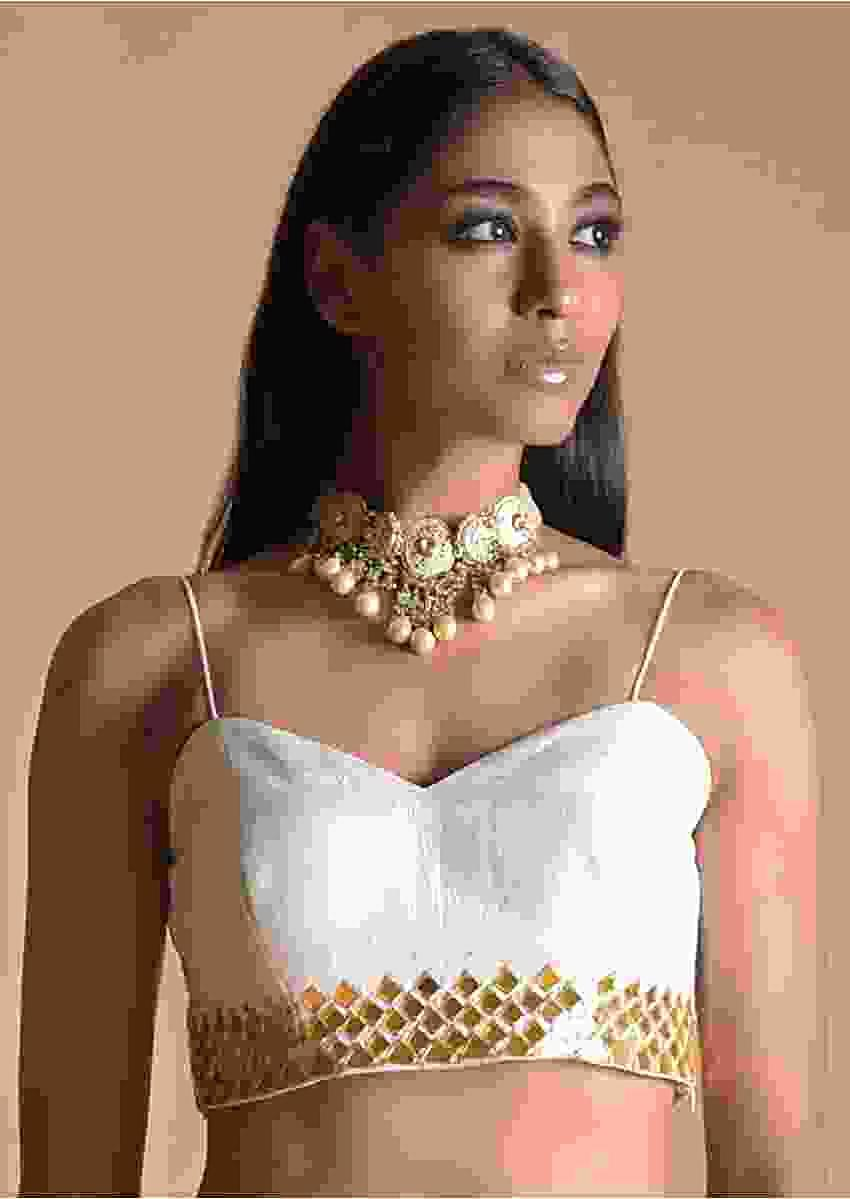 White Blouse In Raw Silk With Mirror Work And Spaghetti Straps On the Shoulders Online - Kalki Fashion