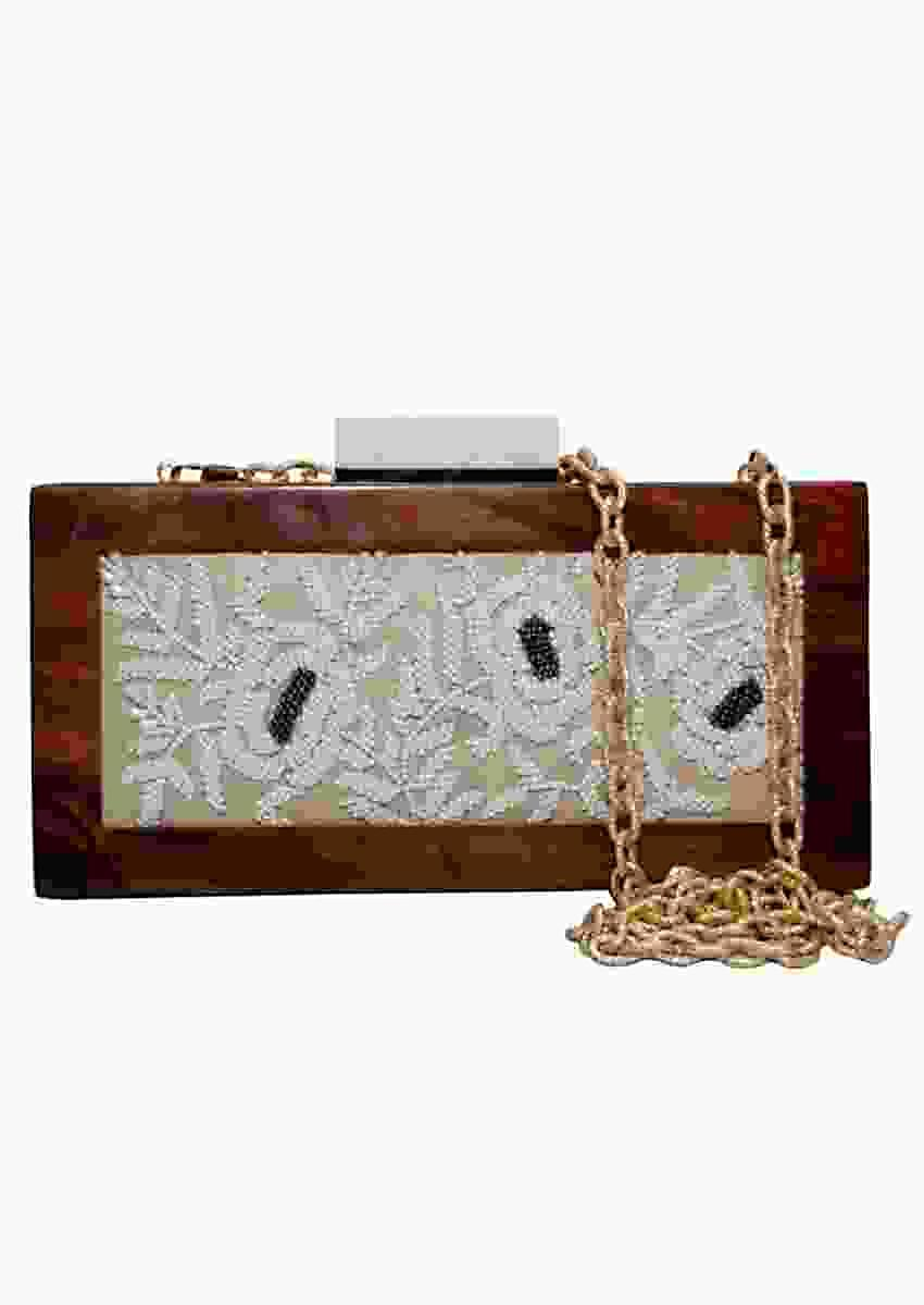 White Box Clutch With Wooden Frame And Hand Embellished White Bead Flowers Online - Kalki Fashion