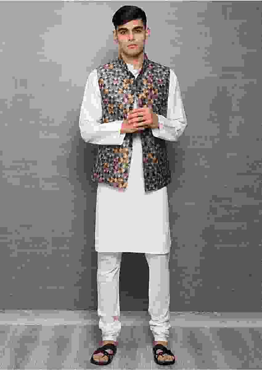 White Kurta In Cotton Silk And Churidar With Digital Printed Nehru Jacket Online - Kalki Fashion
