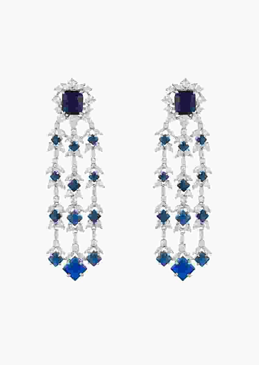 White Finish Dangler Earrings Studded With Faux Diamonds And Blue Stones In Geometric Design By Aster