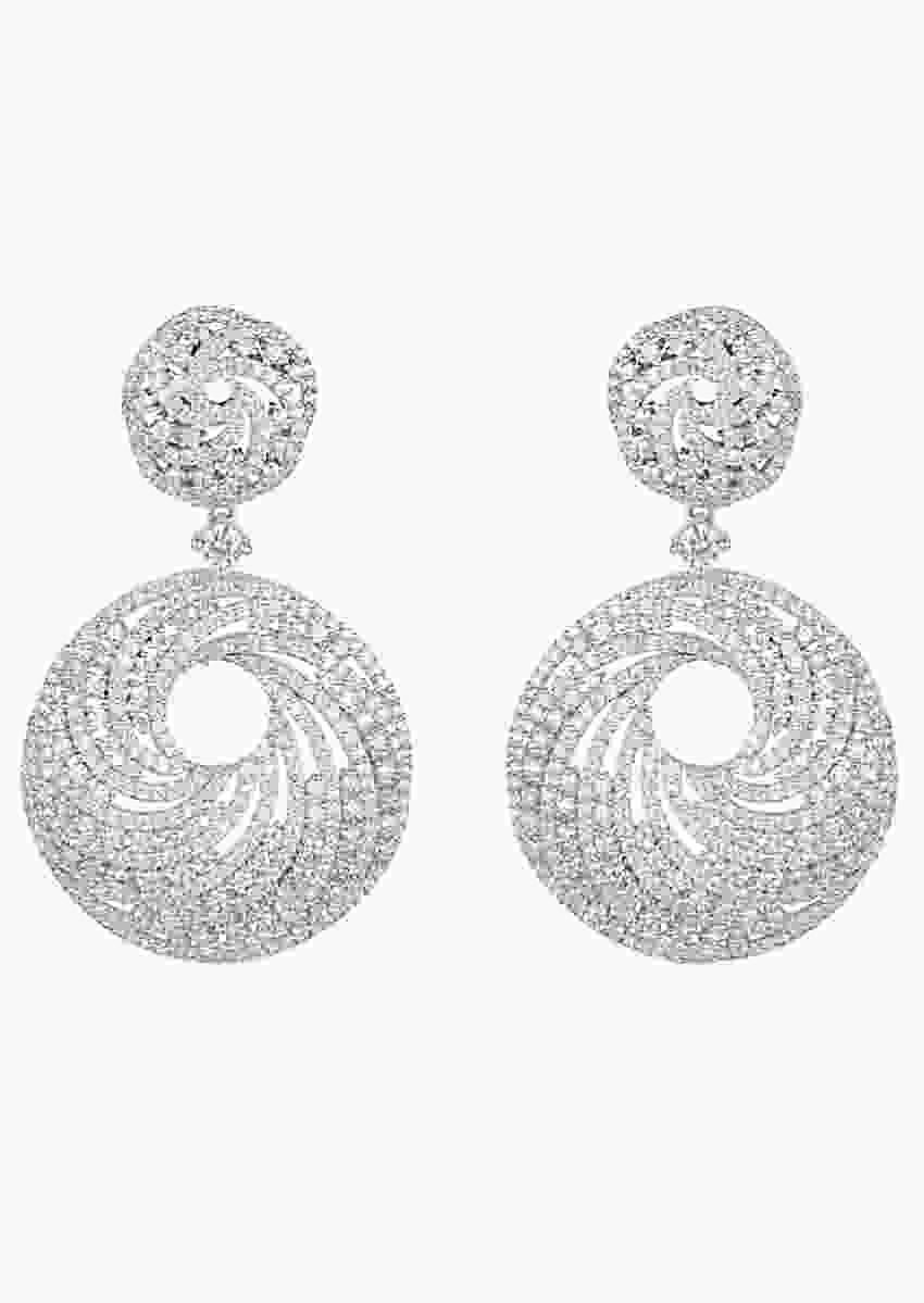 White Finish Long Earrings In A Modern Geometric Design With Faux Diamonds By Aster