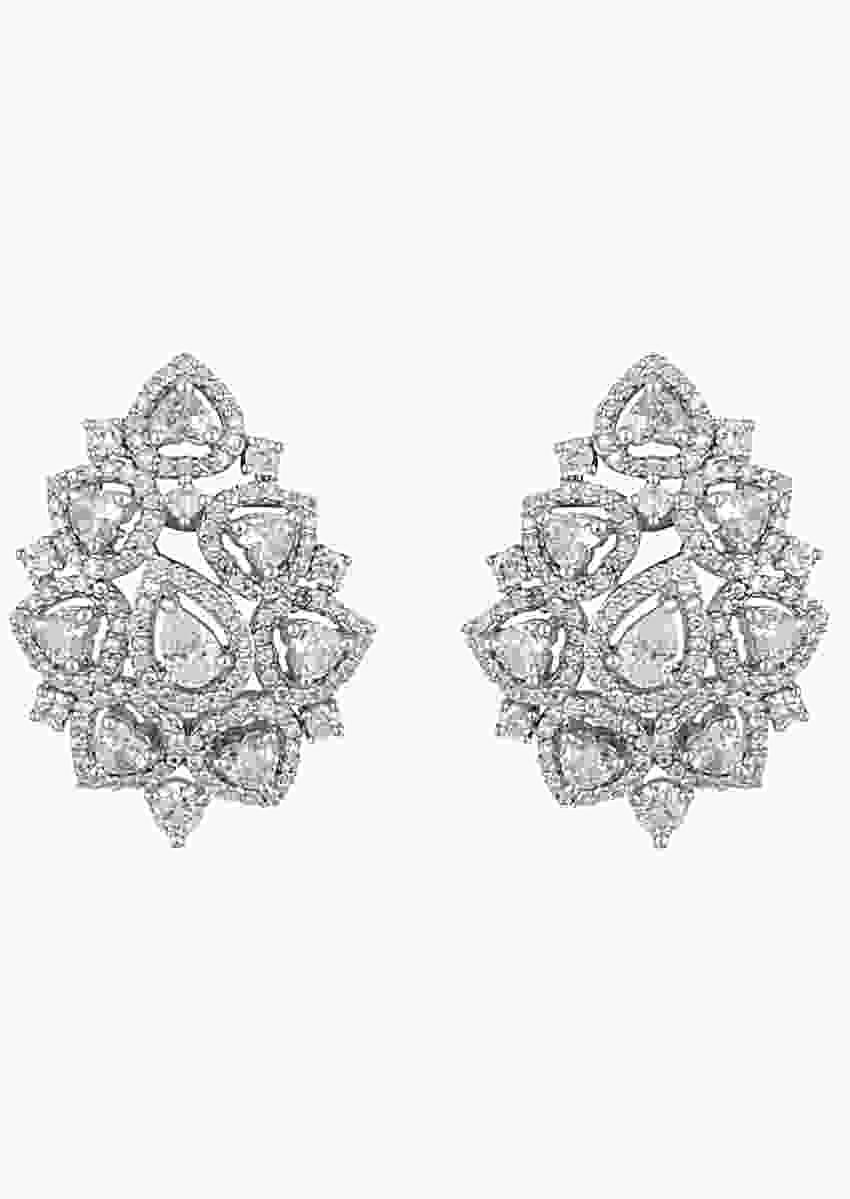 White Finish Stud Earrings With Faux Diamonds In Contemporary Design By Aster