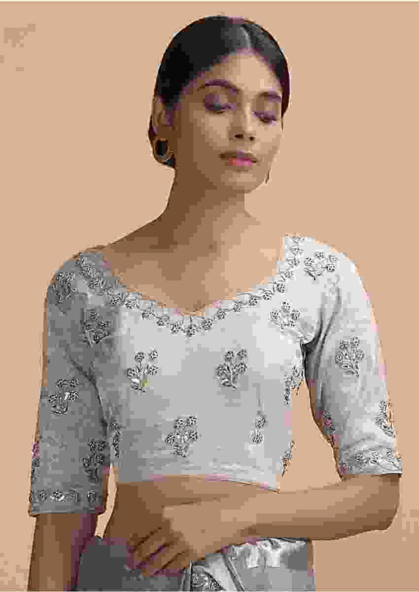 White Grey Blouse In Silk With Gotta Patti And Zardosi Embroidered Floral Buttis Online - Kalki Fashion