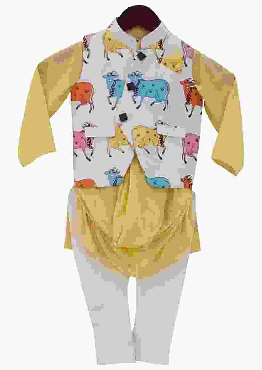 White Nehru Jacket With Print And Yellow Cowl Kurta And Churidar by Fayon Kids