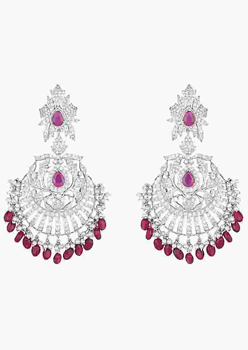White Rhodium Plated Traditional Earrings With Faux Diamonds And Ruby By Aster