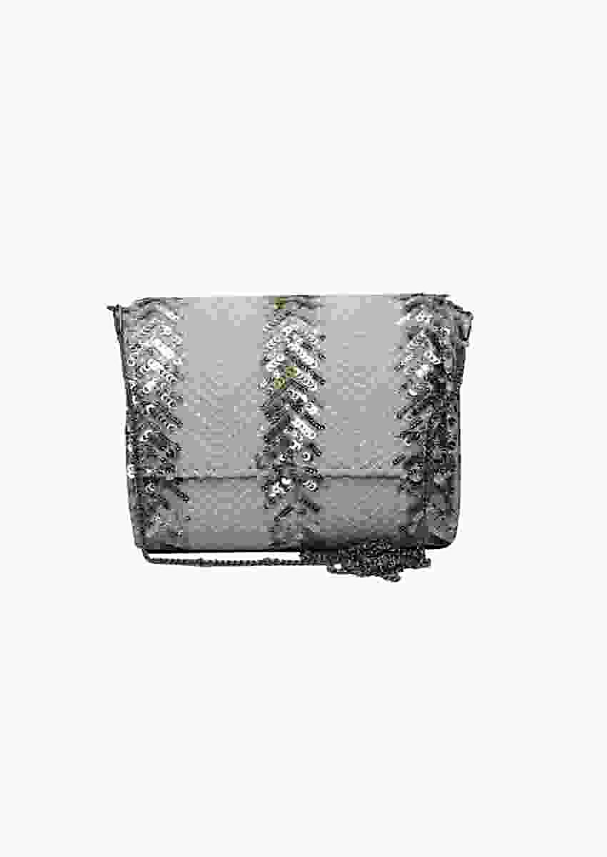 White Three Fold Clutch With Sequins And Thread Work In Chevron Design By Pink Cocktail