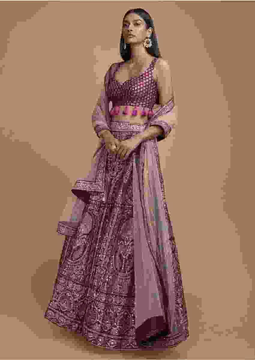 Wine Lehenga Choli In Silk Enhanced With Foil Print In Framed Tree And Floral Motifs Online - Kalki Fashion