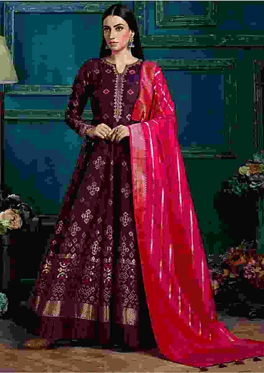 Wine Purple Anarkali Suit In Silk With Weaved Patola Pattern and Peacock Green Banarasi Dupatta Online - Kalki Fashion