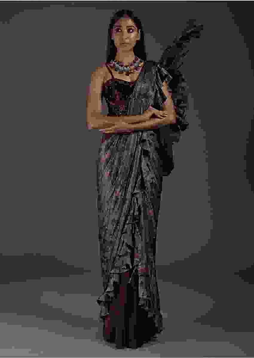 Wine Ready Pleated Saree With Floral Printed Ruffle Pallu And A Velvet Corset Blouse Online - Kalki Fashion