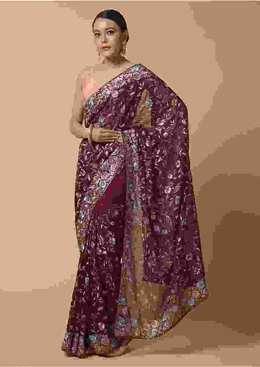 Wine Saree In Organza Silk With Colorful Resham Embroidered Parsi Work In Floral Jaal Design Online - Kalki Fashion