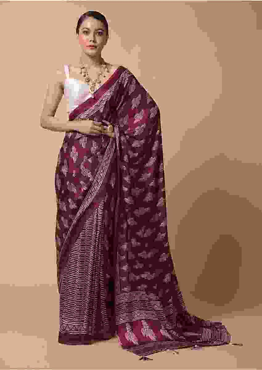 Wine Saree In Satin Blend With Batik Print And Butti Online - Kalki Fashion