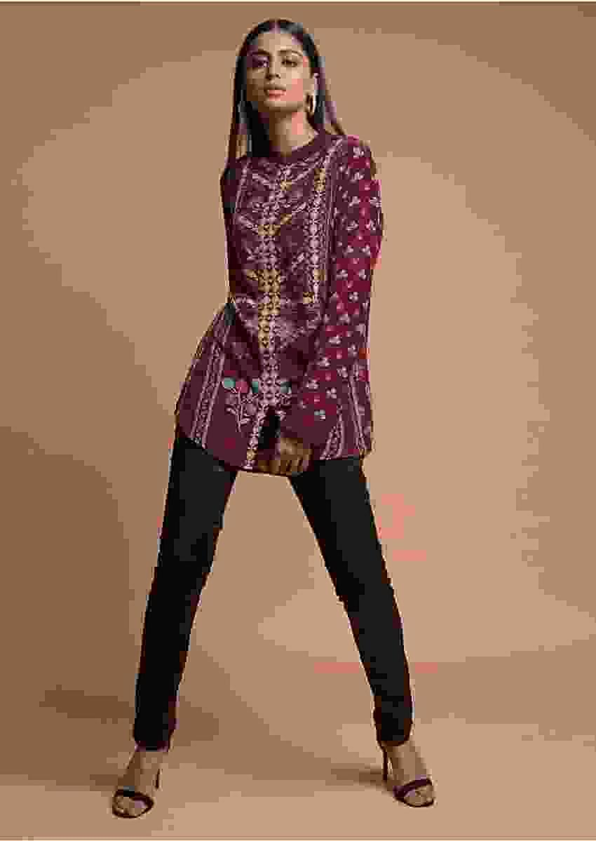 Wine Short Kurti In Crepe With Floral And Geometric Print Online - Kalki Fashion