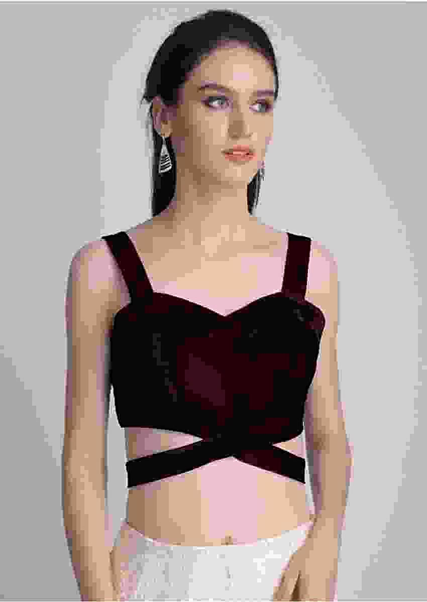 Wine Sleeveless Blouse In Velvet With Cut Out At The Waist Online - Kalki Fashion