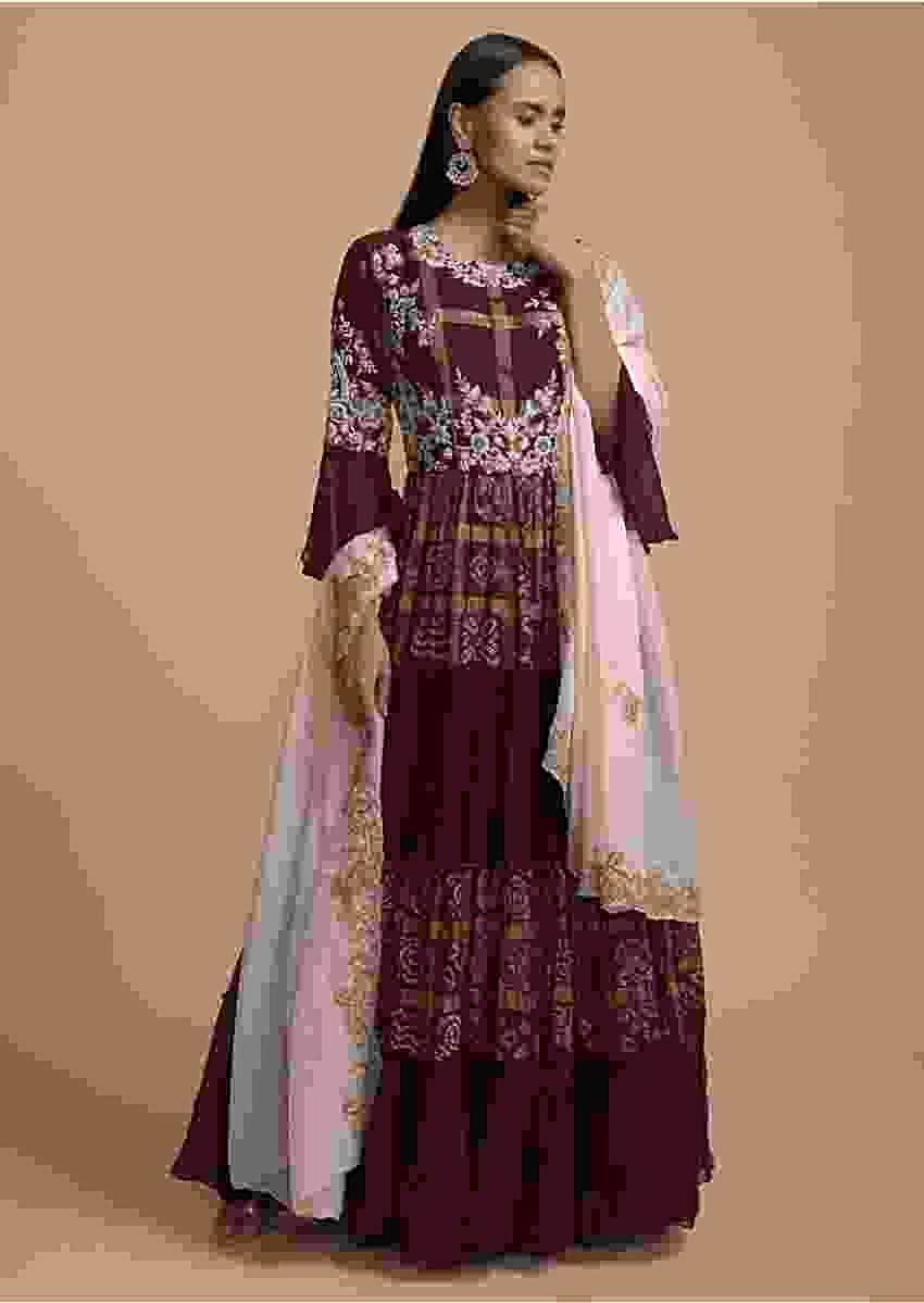 Wine Tiered Anarkali Suit With Bandhani And Woven Checks On Alternating Tiers Online - Kalki Fashion