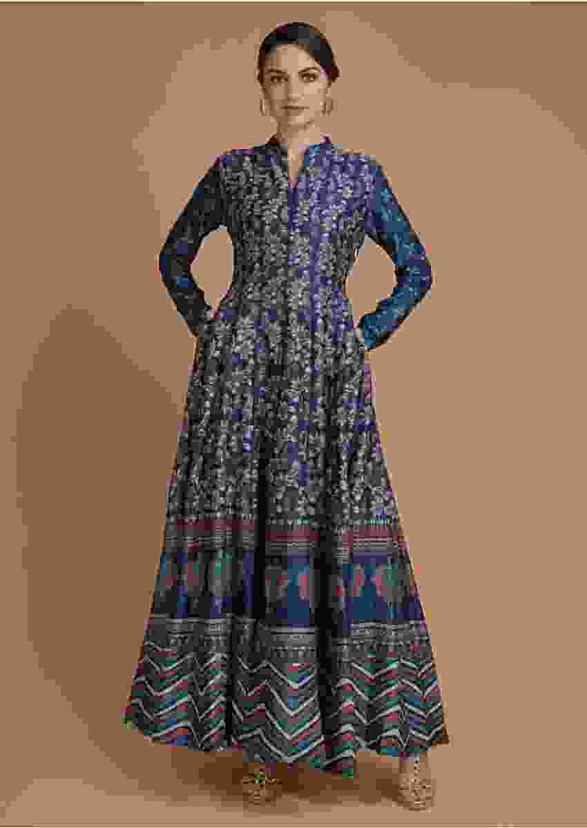 Yale Blue Anarkali Dress In Cotton With Paisley Print Online - Kalki Fashion