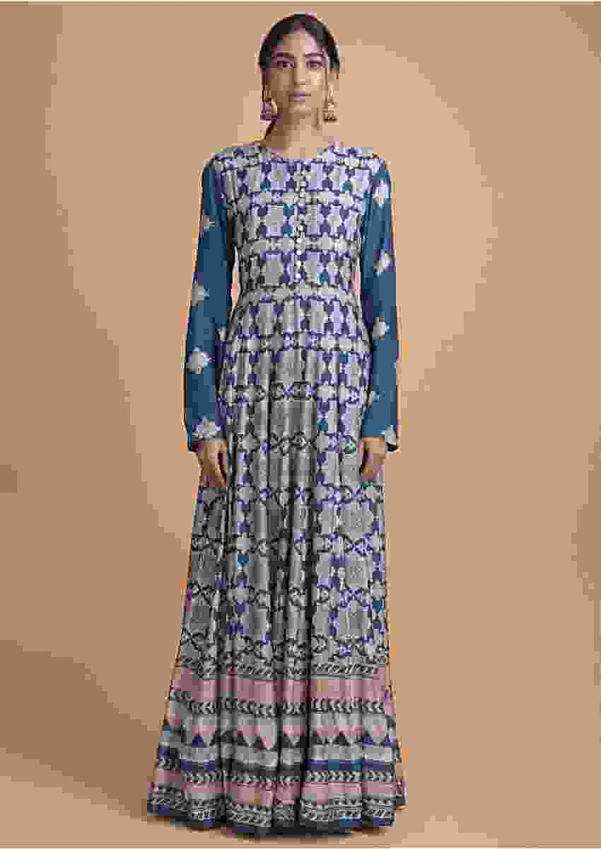 Yale Blue Anarkali Suit In Cotton With Floral Print All Over Online - Kalki Fashion