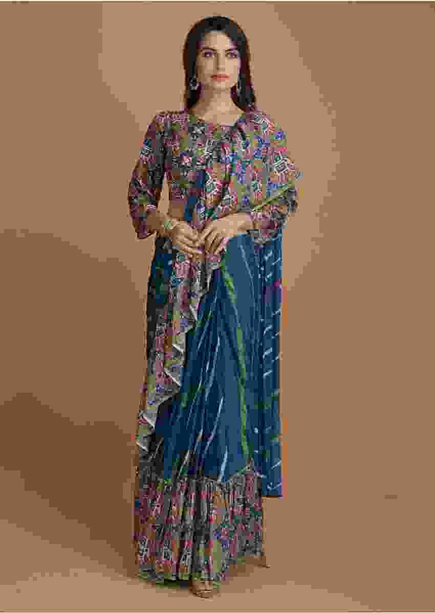 Yale Blue Ready Pleated Ruffle Saree With Printed Stripes And Patola Printed Blouse Online - Kalki Fashion