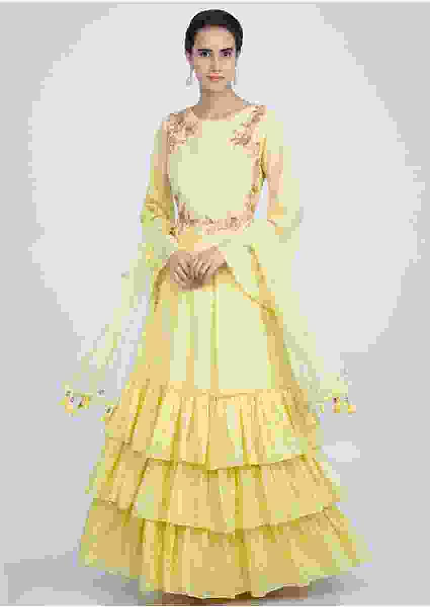 Yellow Suit In Cotton Silk With Frilled Layers Online - Kalki Fashion