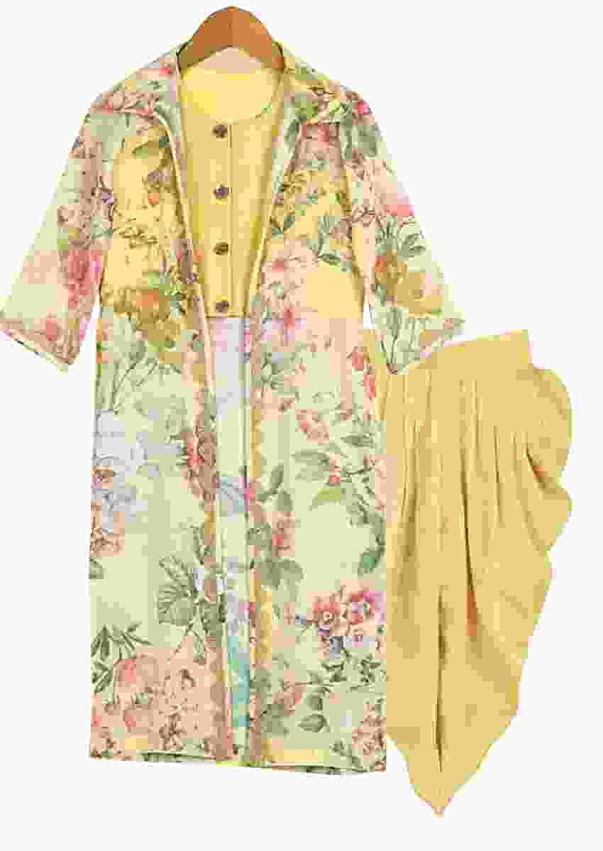 Yellow Crop Top And Dhoti Set Topped With A Long Floral Printed Jacket Online - Free Sparrow